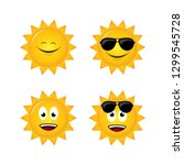 Sun With Emoticons Flat Style...