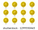 world wide money gold coin icon.... | Shutterstock .eps vector #1299550465