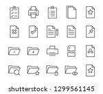 Stock vector set of document icons such as files checkmark find search paper 1299561145