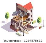 suburbian buildings isometric... | Shutterstock .eps vector #1299575632