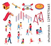 kindergarten isometric set with ... | Shutterstock .eps vector #1299575665