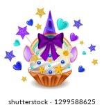 unicorn cupcake with rainbow ... | Shutterstock .eps vector #1299588625