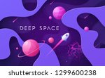 colorful cartoon outer space... | Shutterstock .eps vector #1299600238