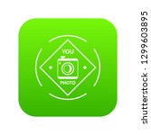 camera icon green isolated on...