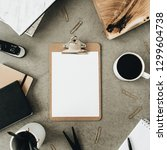 flatlay of clipboard with copy... | Shutterstock . vector #1299604738