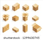 isometric realistic cardboard... | Shutterstock . vector #1299630745
