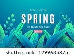 spring sale background banner... | Shutterstock .eps vector #1299635875