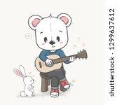 cute bear play a guitar cartoon ... | Shutterstock .eps vector #1299637612