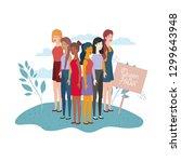 young women standing in... | Shutterstock .eps vector #1299643948