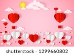 the hot air heart balloon  sun... | Shutterstock .eps vector #1299660802