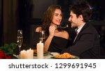 romantic couple having romantic ... | Shutterstock . vector #1299691945