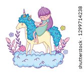 little unicorn and princess in... | Shutterstock .eps vector #1299714238