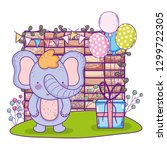 elephant with gifts and... | Shutterstock .eps vector #1299722305