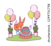 fox with cake and balloons... | Shutterstock .eps vector #1299731758