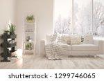 white stylish minimalist room... | Shutterstock . vector #1299746065