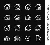 Real Estate Icons with Black Background - stock vector