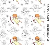 cute baby seamless pattern with ... | Shutterstock .eps vector #1299772798