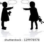 silhouettes of childrens | Shutterstock .eps vector #129978578
