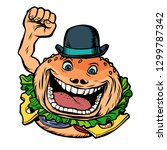 bowler hat fast food burger....