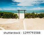 turquoise water on the matemwe... | Shutterstock . vector #1299793588