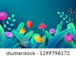 summer border with paper cut... | Shutterstock .eps vector #1299798172