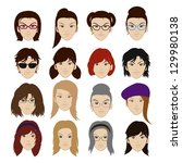 woman faces with different... | Shutterstock .eps vector #129980138