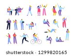 flat vector people set isolated ... | Shutterstock .eps vector #1299820165