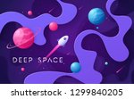 colorful cartoon outer space... | Shutterstock .eps vector #1299840205