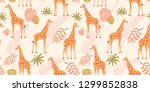 Giraffe Pattern With Tropical...