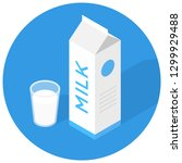isometric icon with milk and a... | Shutterstock .eps vector #1299929488
