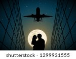 lovers under flying plane on... | Shutterstock .eps vector #1299931555