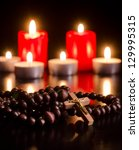 Closeup Of Wooden Rosary On...