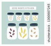 zero waste kitchen pantry. ...   Shutterstock .eps vector #1300007245