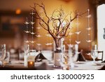 wedding table setting with... | Shutterstock . vector #130000925