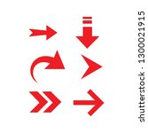 red arrow set. arrow icon ... | Shutterstock . vector #1300021915