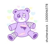 suffering bear toy with injured ... | Shutterstock .eps vector #1300046578