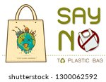 eco fabric cloth bag tote with... | Shutterstock .eps vector #1300062592