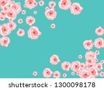 floral summer poster with pink... | Shutterstock .eps vector #1300098178