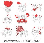 couple in love. set of funny... | Shutterstock . vector #1300107688