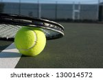 tennis ball close up and racket ... | Shutterstock . vector #130014572