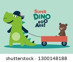 funny dinosaur with wagon cart   Shutterstock .eps vector #1300148188