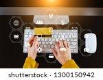 woman hand using smart phone ... | Shutterstock . vector #1300150942