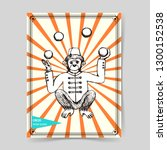 Sketch Mokey Juggler In Vintag...