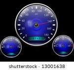 speedometer and other dials on... | Shutterstock . vector #13001638