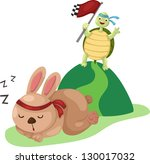 Stock vector  illustration of turtle and rabbit running a race 130017032