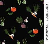 eco vegetables seamless pattern.... | Shutterstock .eps vector #1300186015