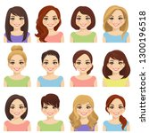 set of cute girls with... | Shutterstock .eps vector #1300196518