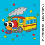 sweet  cute locomotive cartoon... | Shutterstock .eps vector #1300198978