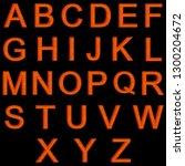 orange wooden english alphabet... | Shutterstock . vector #1300204672