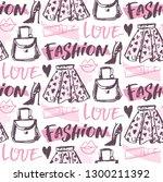 fashion beauty hand drawn... | Shutterstock .eps vector #1300211392